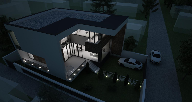 Locuinta Unifamiliala Moderna in Bucuresti, S1 | Concept Design finalizat casa moderna demisol, parter si etaj cod NCB in Bucuresti, S1 | Proiect din portofoliul CUB Architecture