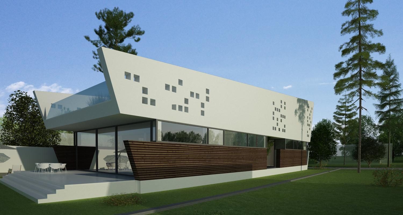 Locuinta Moderna pe malul lacului, CT   Concept Design finalizat casa pe malul lacului si piscina   cod LTO in Ovidiu, CT   proiect din portofoliul CUB Architecture