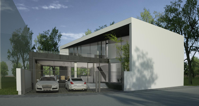 Proiect Locuinta Moderna casa pe teren triunghiular cu alipire la calcan in Bucuresti Sector 4