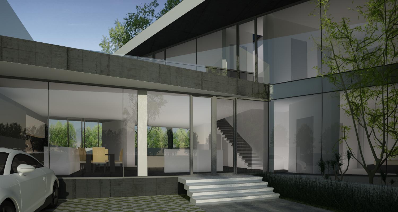 Proiect Locuinta Moderna casa pe teren triunghiular cu alipire la calcan in Bucuresti